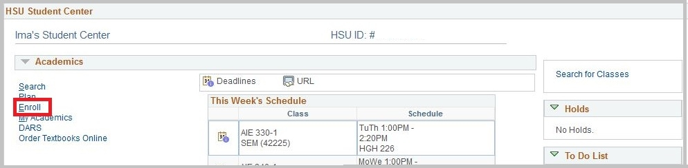 HSU Student Center: Academics