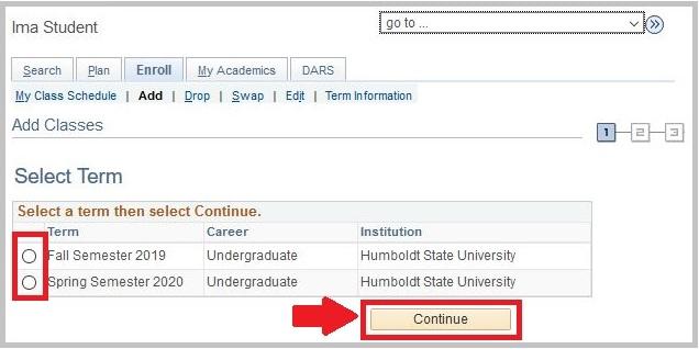 HSU Student Center select term