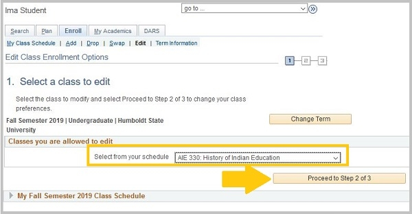 Classes your are allowed to edit will be in the drop-down menu