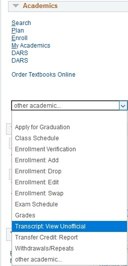 transcript view unofficial in the other academic dropdown menu