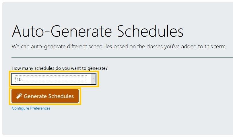 Auto-Generate Schedules window