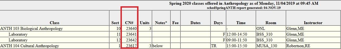 Class number (CN#) location in class schedule