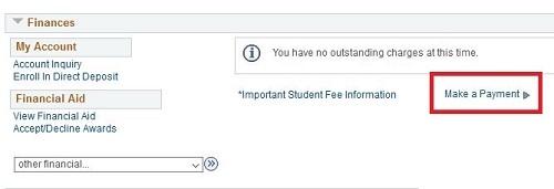 Student Center Finances section