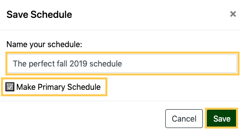 Name your schedule and save