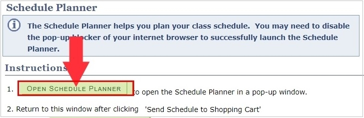 Open Schedule Planner button