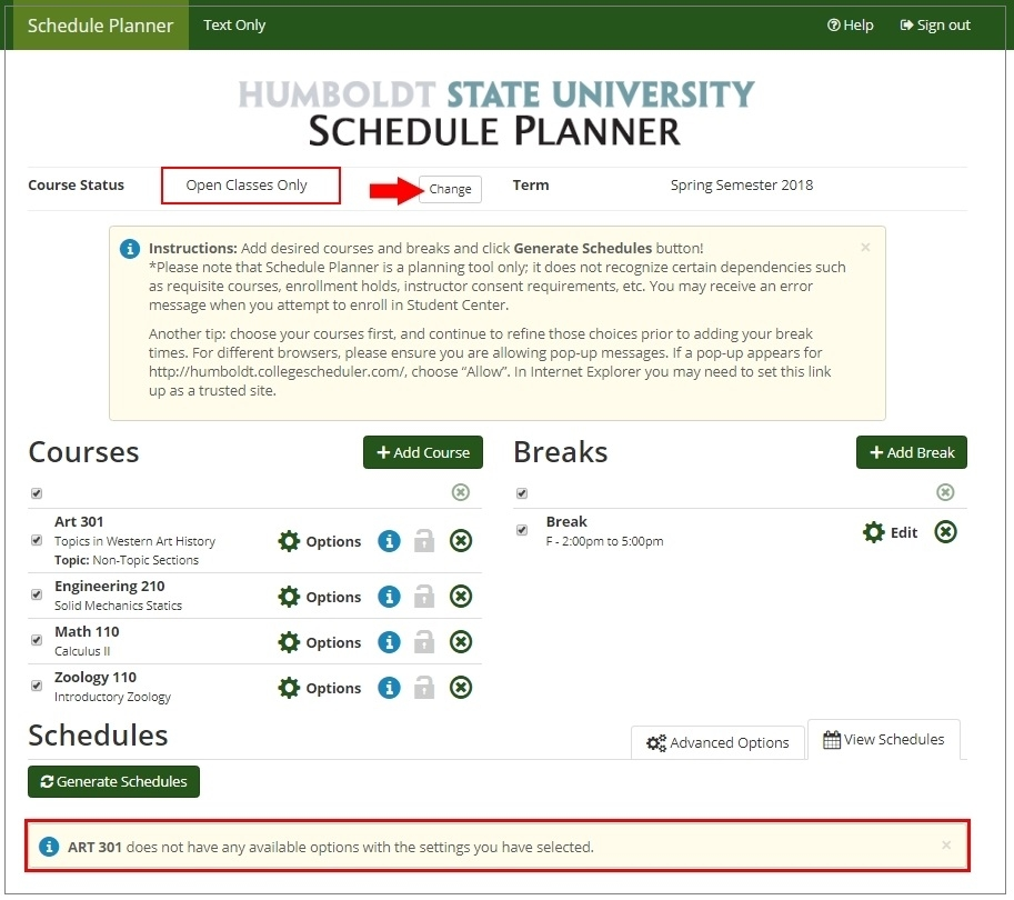 Schedule Planner window