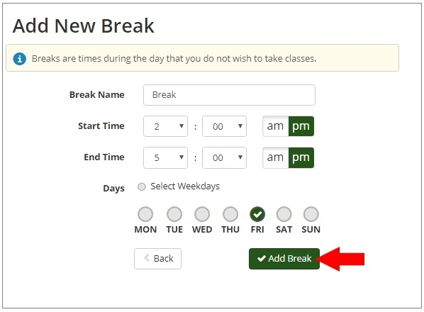 Break Information window